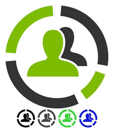 Demography Diagram flat vector illustration. Demography Diagram icon with gray, black, blue, green color versions.