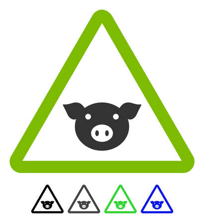 Pig Warning flat vector icon. Pig Warning icon with gray, black, blue, green color versions. Illustration