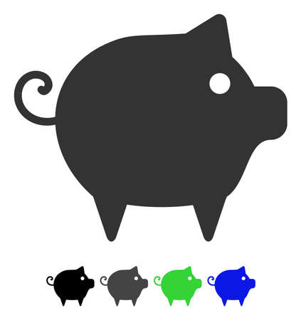 Piggy flat vector pictogram. Piggy icon with gray, black, blue, green color versions. Illustration
