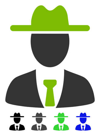 Farmer Boss flat vector pictograph. Farmer Boss icon with gray, black, blue, green color versions. Illustration
