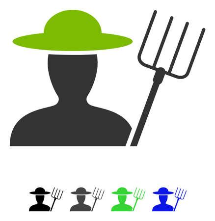 Farmer With Pitchfork flat vector icon. Farmer With Pitchfork icon with gray, black, blue, green color versions. Illustration