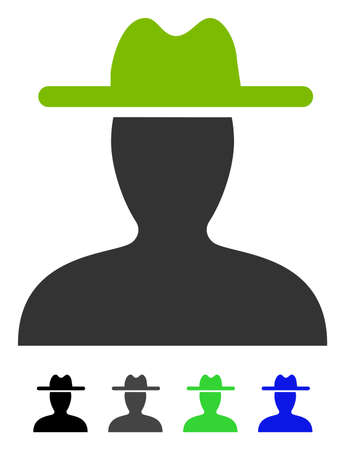 Farmer flat vector pictograph. Farmer icon with gray, black, blue, green color versions. Illustration