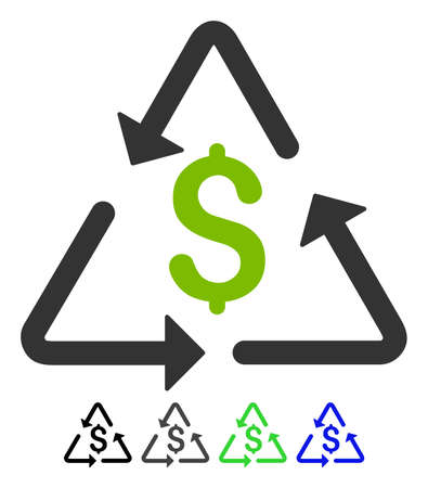 Financial Recycling flat vector icon. Financial Recycling icon with gray, black, blue, green color versions.