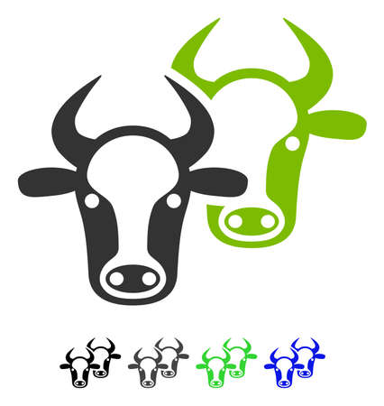 Livestock flat vector illustration. Livestock icon with gray, black, blue, green color versions.