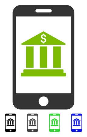 携帯銀行フラットのベクター イラストです。灰色、黒、青、緑のカラー バリエーションでモバイル銀行アイコン。