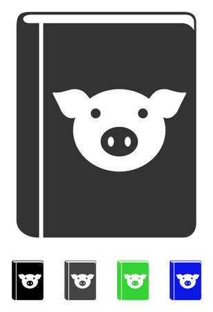 Pig book flat pictograph.