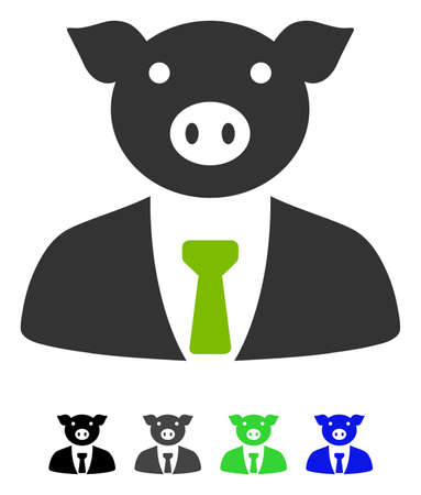Pig Boss flat vector pictogram. Pig Boss icon with gray, black, blue, green color versions.