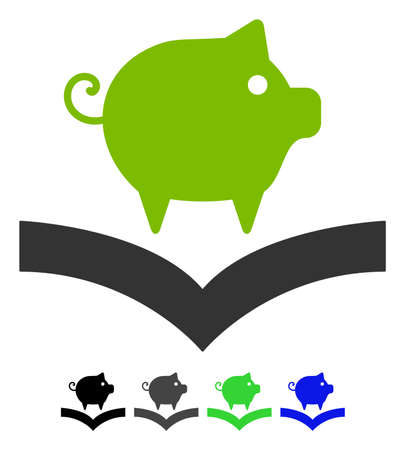 Pig Knowledge flat vector illustration. Pig Knowledge icon with gray, black, blue, green color versions.