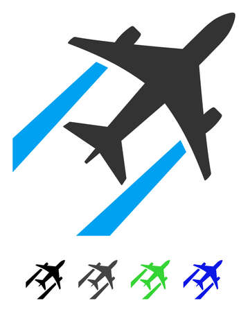 Air Jet Trace flat pictograph. Air Jet Trace icon with gray, black, blue, green color versions.