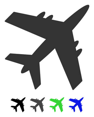 Aircraft flat illustration. Aircraft icon with gray, black, blue, green color versions.
