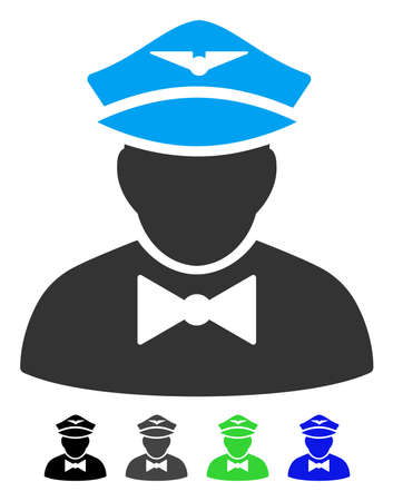 Airline steward flat pictograph. Airline Steward icon with gray, black, blue, green color versions. Illustration