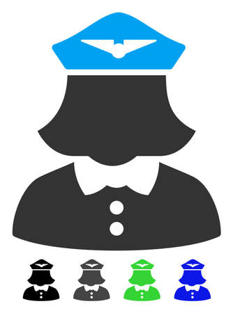 Airline stewardess flat icon. Airline stewardess icon with gray, black, blue, green color versions. Illustration