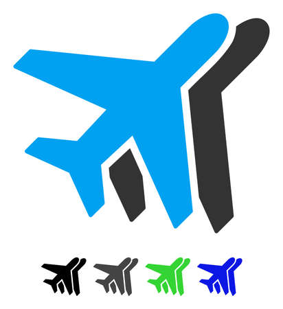 Airlines flat pictogram. Airlines icon with gray, black, blue, green color versions.