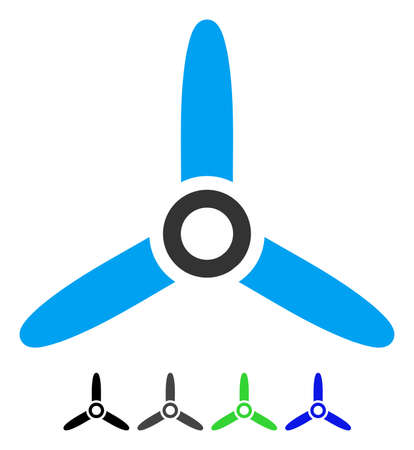 Three bladed screw flat pictogram. Illustration