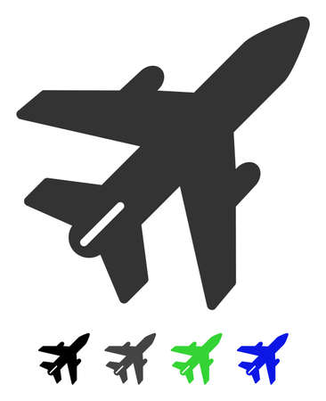 Airplane flat vector illustration. Airplane icon with gray, black, blue, green color versions. Illustration