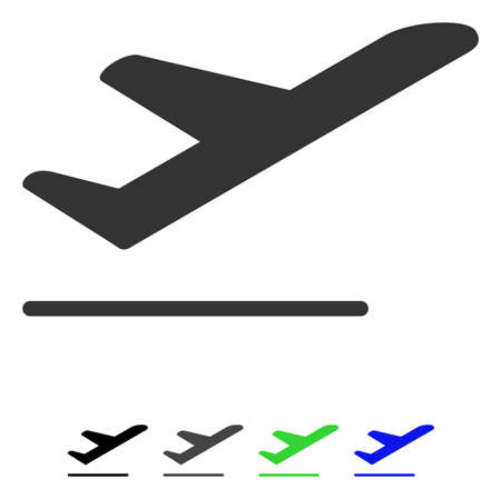 Airplane Departure flat vector illustration. Airplane Departure icon with gray, black, blue, green color versions.
