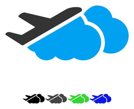 Airplane Over Clouds flat vector icon. Airplane Over Clouds icon with gray, black, blue, green color versions. Illustration