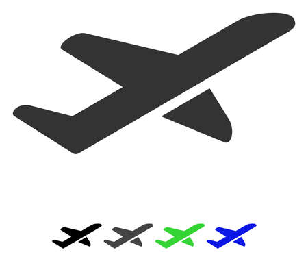 Airplane Takeoff flat vector pictograph. Airplane Takeoff icon with gray, black, blue, green color versions.