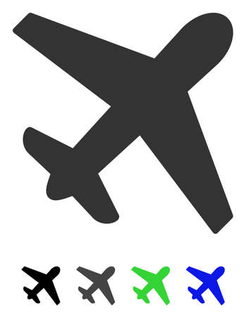 Airplane flat vector icon. Airplane icon with gray, black, blue, green color versions. Illustration