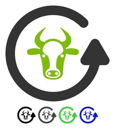 強気フラット ベクトル図を更新します。カラー バージョンと雄牛のアイコンを更新します。