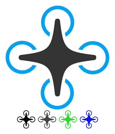 Nanocopter flat vector icon. Nanocopter icon with gray, black, blue, green color versions.