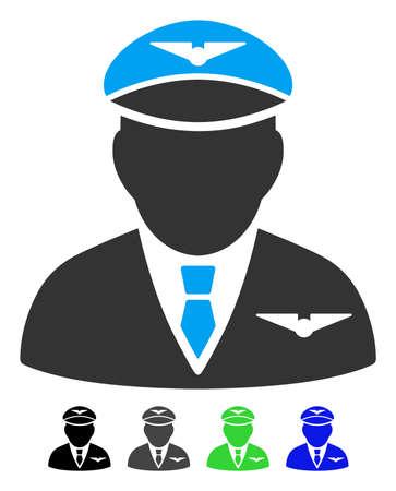 Pictograma de vector plano piloto. Icono de piloto con versiones de color gris, negro, azul y verde.