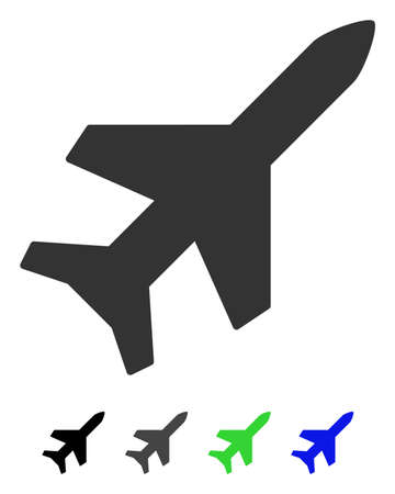 Aeroplane flat vector icon. Aeroplane icon with gray, black, blue, green color versions.