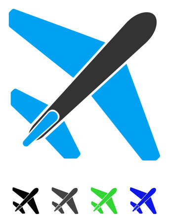 Jet Airplane flat vector illustration. Jet Airplane icon with gray, black, blue, green color versions.
