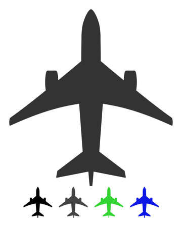 Jet Plane flat vector icon. Jet Plane icon with gray, black, blue, green color versions.