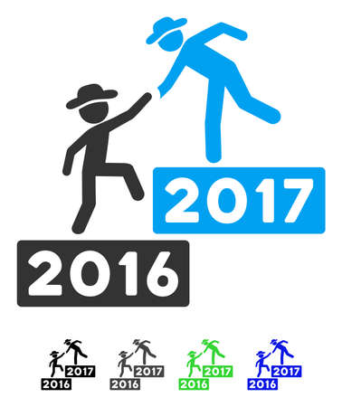 lift up: 2017 Business Training Steps flat vector pictogram. 2017 Business Training Steps icon with gray, black, blue, green color versions.