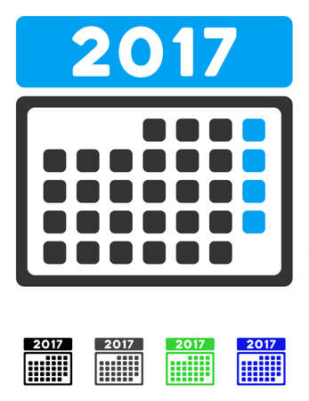 2017 Month Calendar Page flat vector pictograph. 2017 Month Calendar Page icon with gray, black, blue, green color versions. Illustration