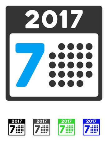 Pictograma de vector plano 2017 año 7Th día. Icono de 2017 Year 7Th Day con versiones de color gris, negro, azul y verde.