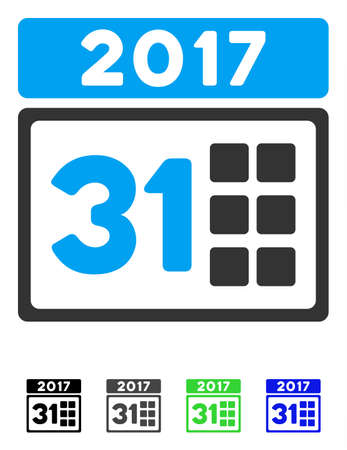 2017 Year Last Month Day flat vector icon. 2017 Year Last Month Day icon with gray, black, blue, green color versions. Illustration