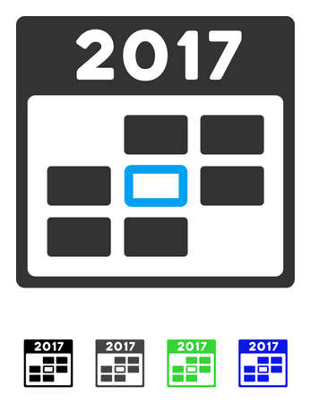 2017 Year Selected Calendar Day flat vector illustration. 2017 Year Selected Calendar Day icon with gray, black, blue, green color versions.