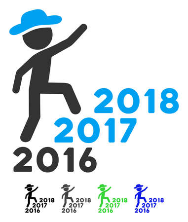 Gentleman Steps Years From 2016 To 2018 flat vector illustration. Gentleman Steps Years From 2016 To 2018 icon with gray, black, blue, green color versions. Illustration