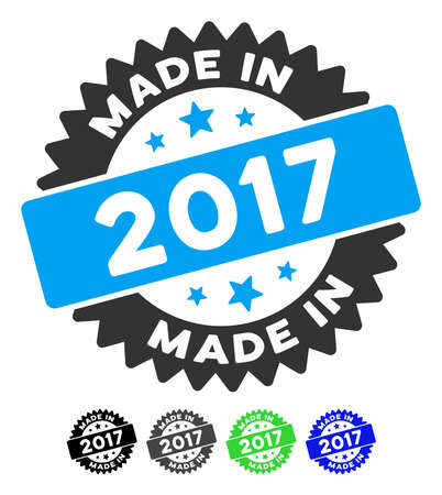 Made In 2017 Stamp flat vector icon. Made In 2017 Stamp icon with gray, black, blue, green color versions.