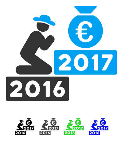 Pray For Euro 2017 flat vector icon. Pray For Euro 2017 icon with gray, black, blue, green color versions.