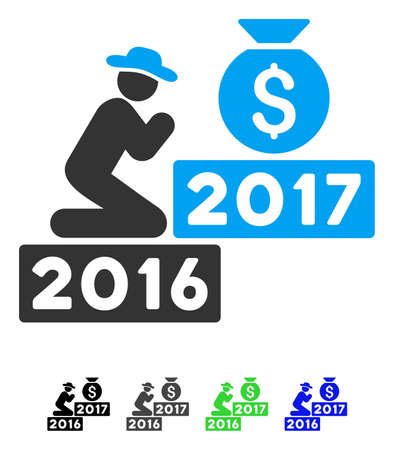 Pray For Money Bag 2017 flat vector icon. Pray For Money Bag 2017 icon with gray, black, blue, green color versions. Illustration