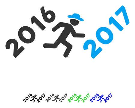 Running Gentleman To 2017 Year flat vector pictogram. Running Gentleman To 2017 Year icon with gray, black, blue, green color versions.