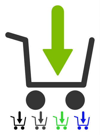 Add To Basket flat vector illustration. Add To Basket icon with gray, black, blue, green color versions. Illustration
