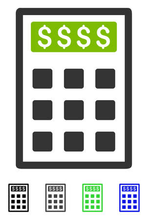 Book-Keeping Calculator flat vector illustration. Book-Keeping Calculator icon with gray, black, blue, green color versions.
