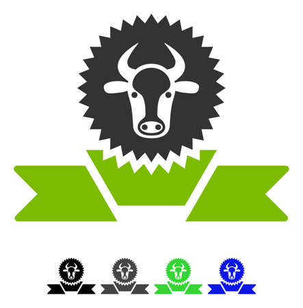 Cattle Award Ribbon flat vector icon. Cattle Award Ribbon icon with gray, black, blue, green color versions. Illustration