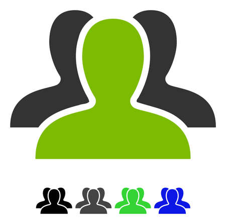 Client Group flat vector illustration. Client Group icon with gray, black, blue, green color versions. Illustration