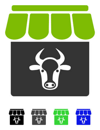 Cow Farm flat vector pictogram. Cow Farm icon with gray, black, blue, green color versions.