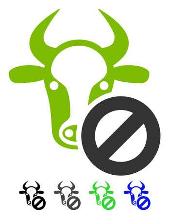 Cow Forbidden flat vector pictograph. Cow Forbidden icon with gray, black, blue, green color versions.