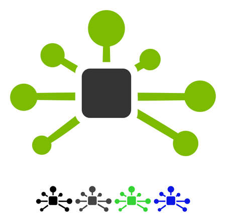 Connection Relations flat vector icon. Connection Relations icon with gray, black, blue, green color versions.