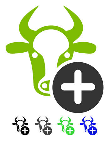 Cow Add flat vector icon. Cow Add icon with gray, black, blue, green color versions. Illustration
