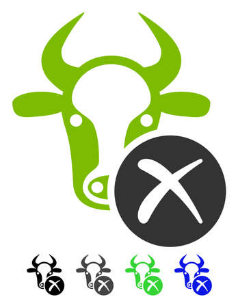 Cow Reject flat vector pictogram. Cow Reject icon with gray, black, blue, green color versions. Illustration