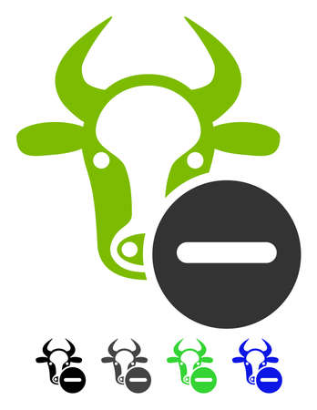 refuse: Cow Remove flat vector pictogram. Cow Remove icon with gray, black, blue, green color versions. Illustration
