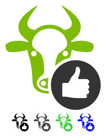 validation: Cow Thumb Up flat vector pictogram. Cow Thumb Up icon with gray, black, blue, green color versions. Illustration